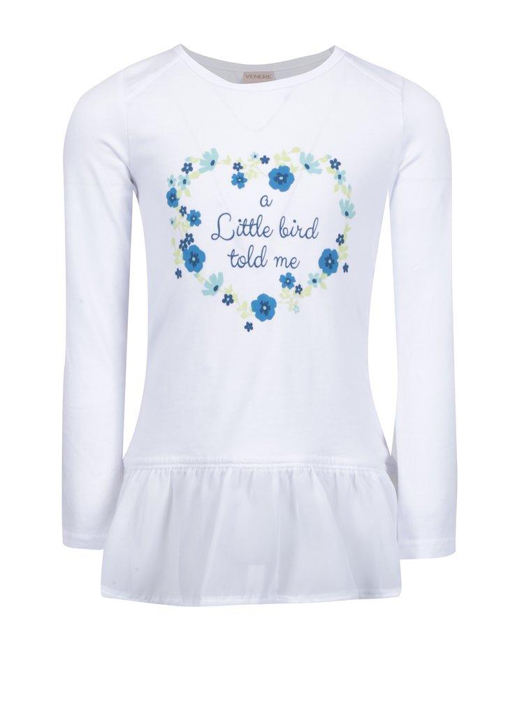 Bílé holčičí tričko s volány Venere