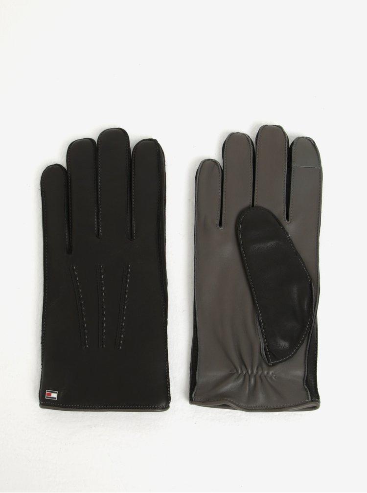 Černé pánské kožené rukavice Tommy Hilfiger