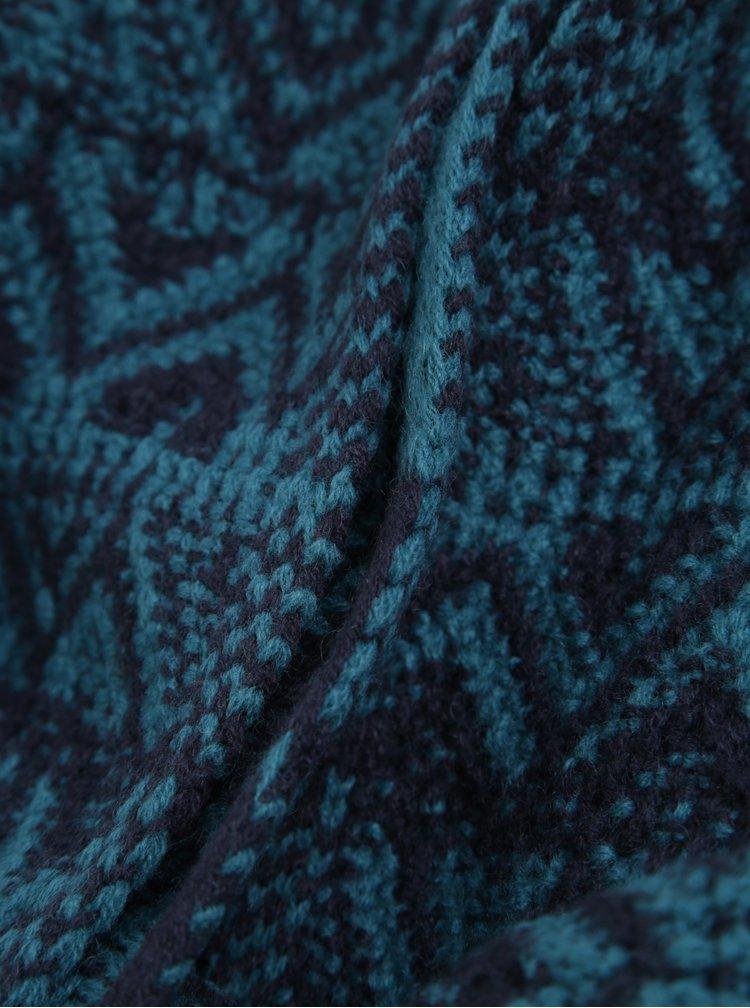 Modrá vzorovaná šála s příměsí vlny O'Neill