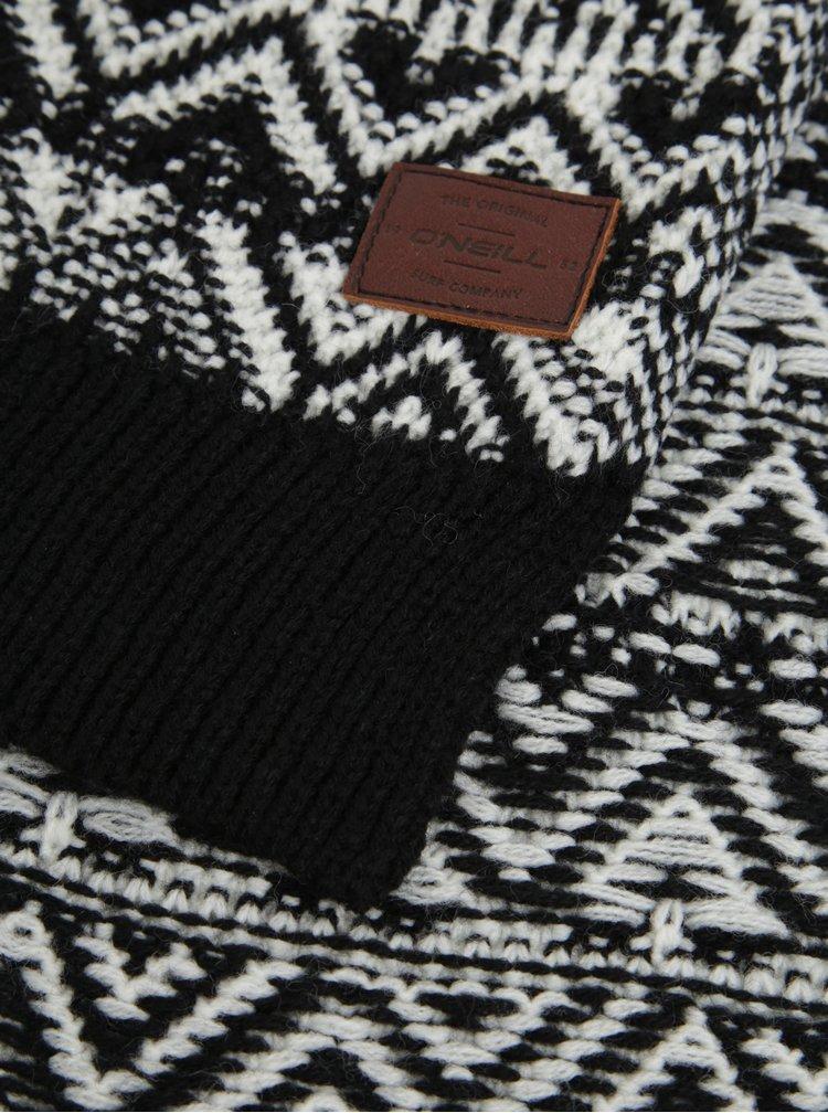 Černá vzorovaná šála s příměsí vlny O'Neill