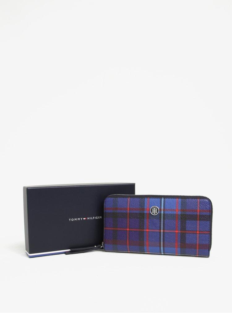 Fialová kostkovaná peněženka Tommy Hilfiger