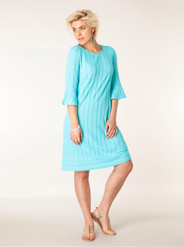 Modré šaty s 3/4 volánovým rukávem Yest