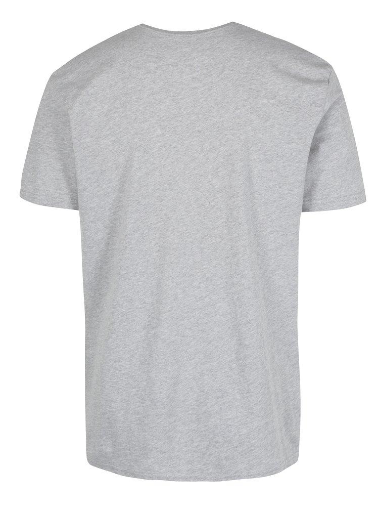 Šedé pánské regular fit tričko s potiskem Quiksilver Meridian