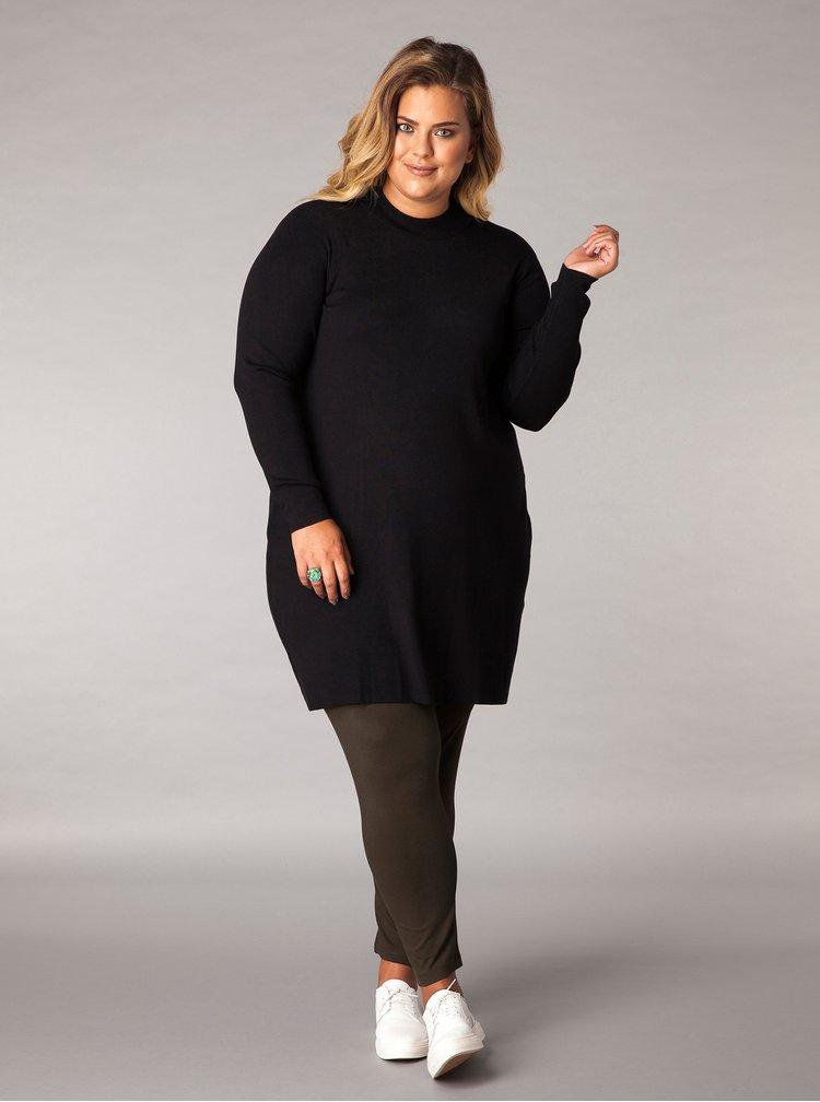 Černé svetrové šaty s dlouhým rukávem Yest