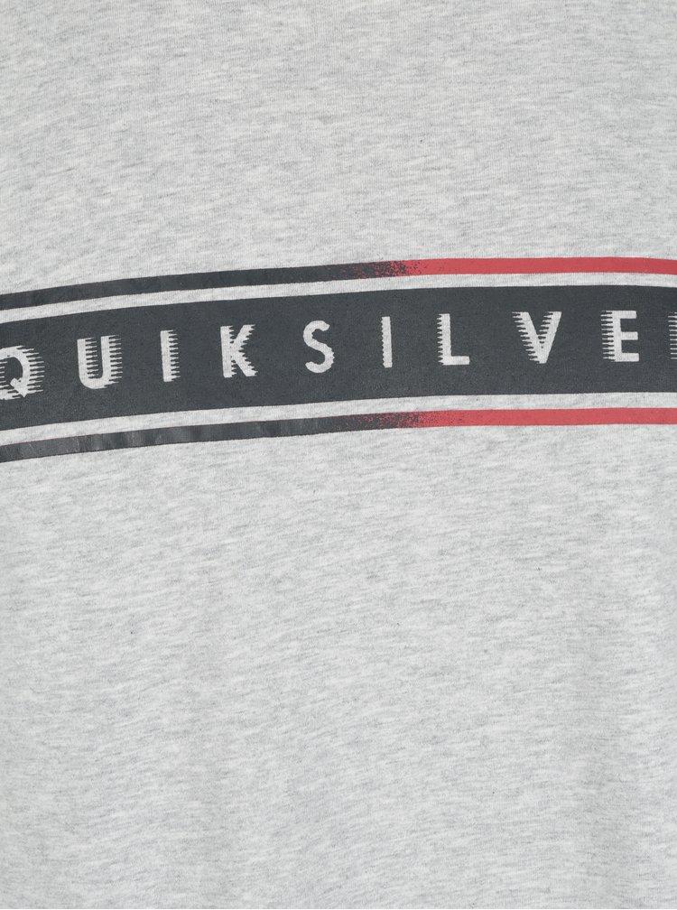 Světle šedé pánské tričko s potiskem Quiksilver Classic Daily Surf