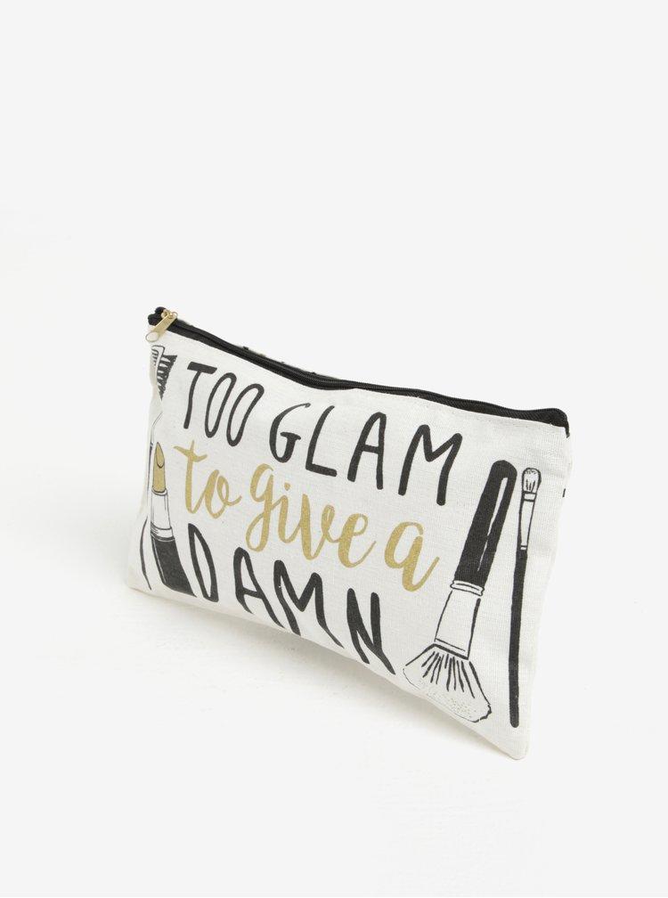 Geanta crem deschis pentru cosmetice cu print - CGB Too Glam