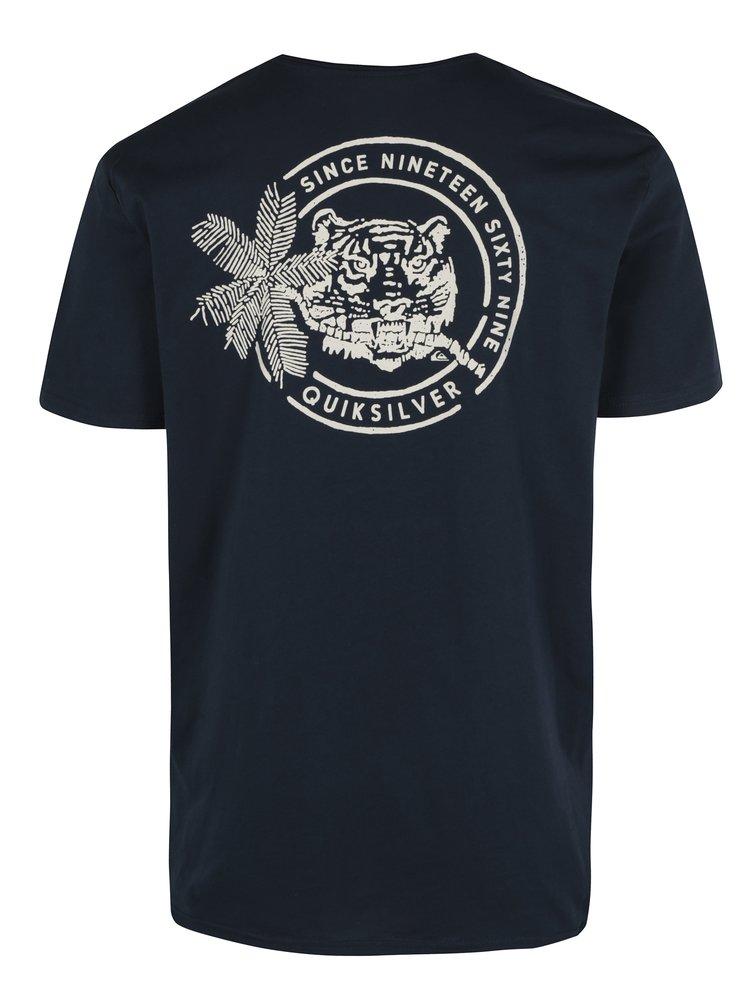 Tmavě modré pánské regular fit tričko s potiskem Quiksilver Classic Rad Tiger