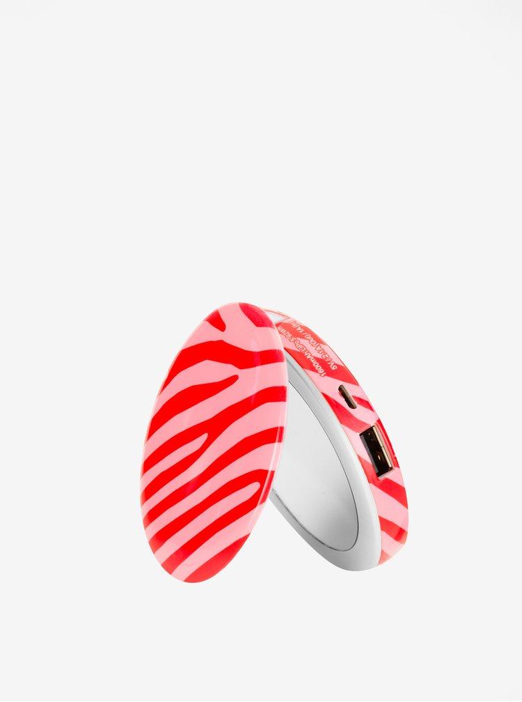 Růžová power banka se svítícím zrcátkem Hyper Pearl Mini