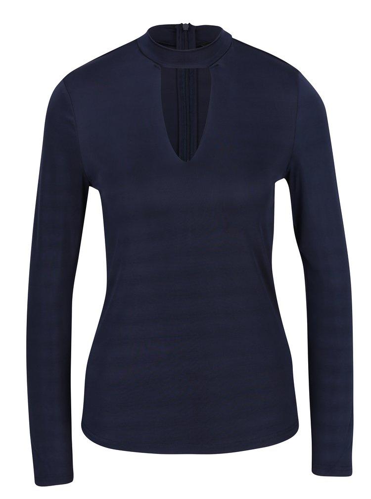 Tmavě modré tričko s průstřihem v dekoltu VERO MODA Jennie