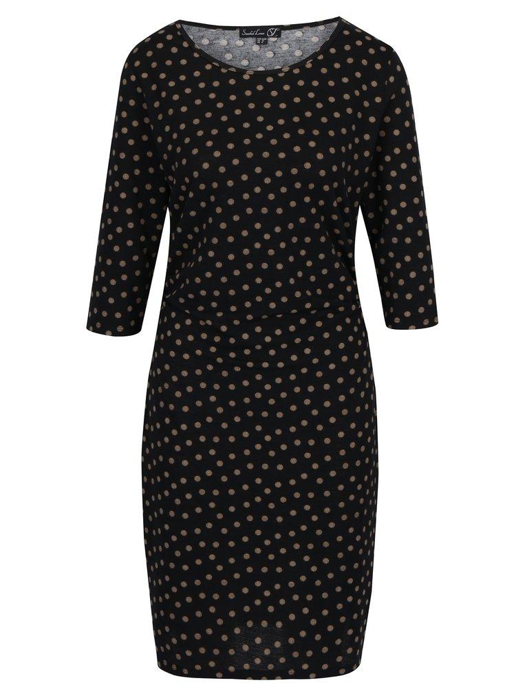 Černé puntíkované šaty s řasením na bocích Smashed Lemon