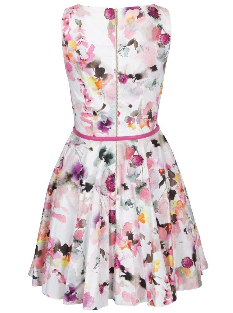 Rochie alb prafuit & roz cu print floral - Closet