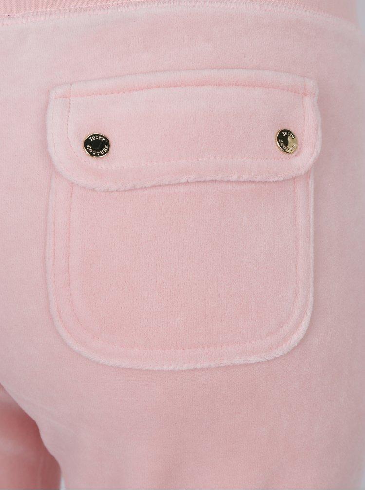 Světle růžové sametové tepláky Juicy Couture