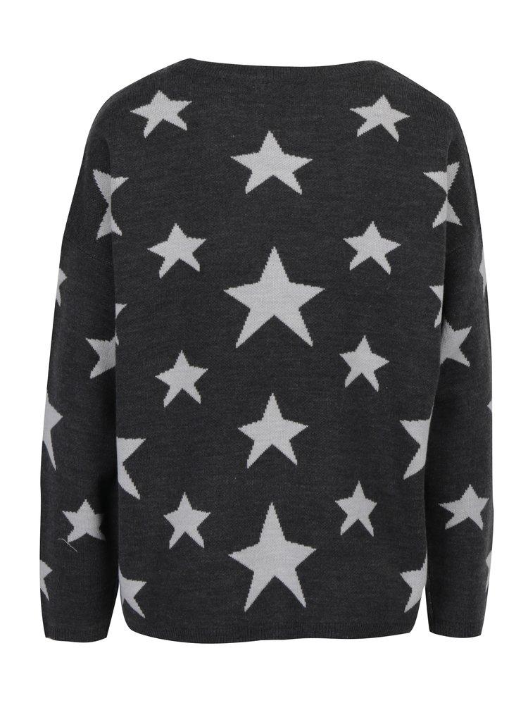 Tmavě šedý vzorovaný svetr Jacqueline de Yong Noel