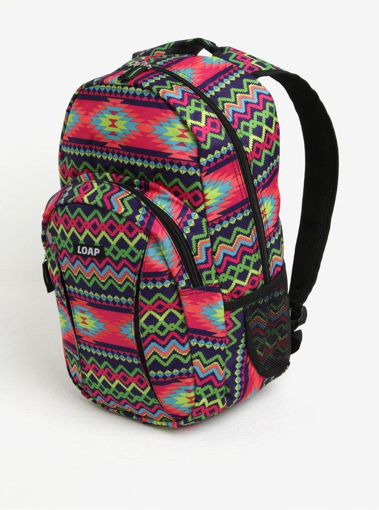Růžovo-zelený vzorovaný batoh LOAP Asso 20 l