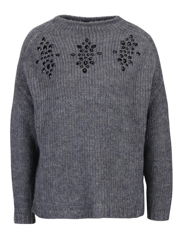 Šedý svetr s kamínky ONLY Siv