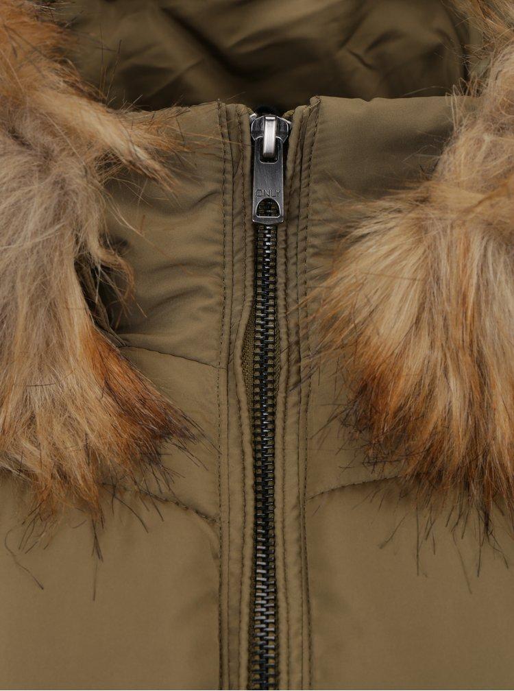 Khaki prošívaná bunda s kapucí ONLY Sanna
