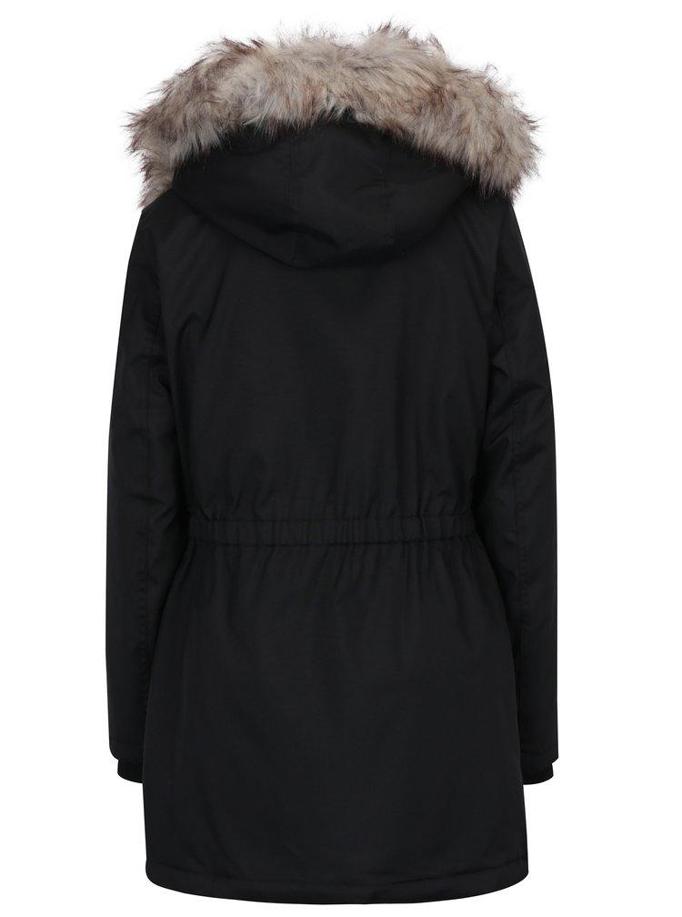 Černá zimní parka s kapucí a umělým kožíškem ONLY Iris
