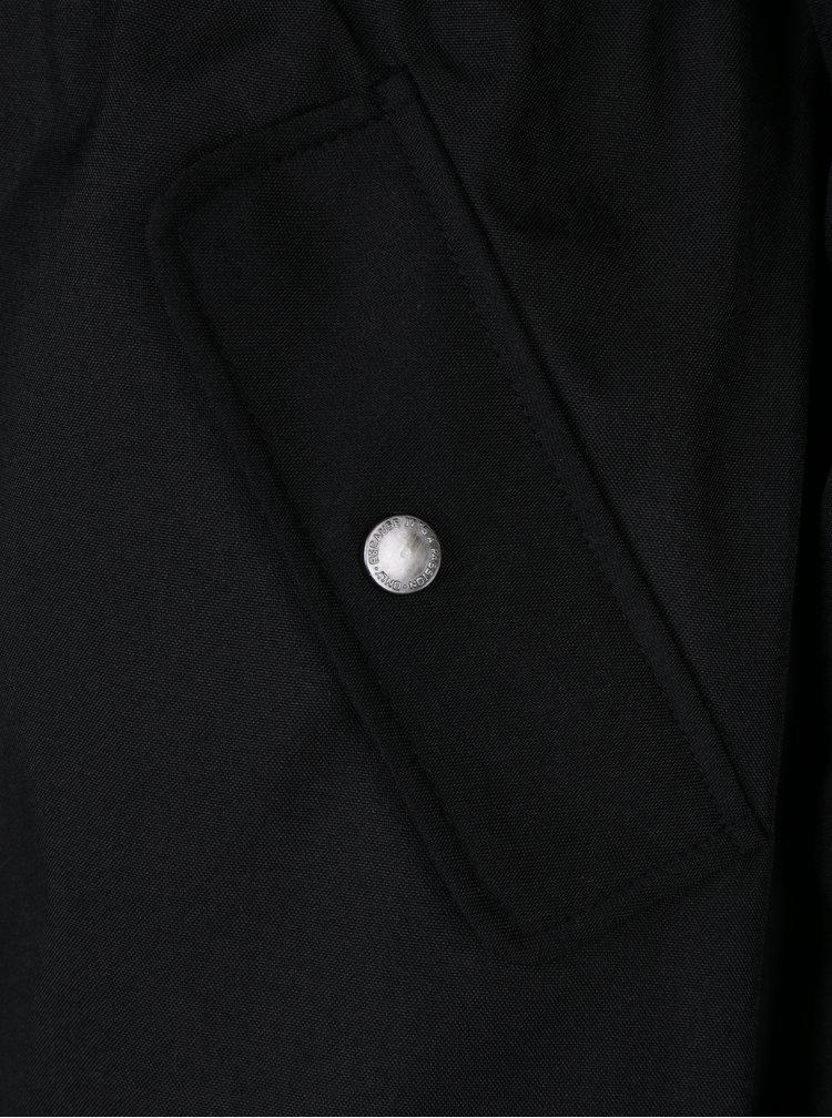 Geaca parka neagra cu blanita artificiala detasabila si interior matlasat - ONLY Iris