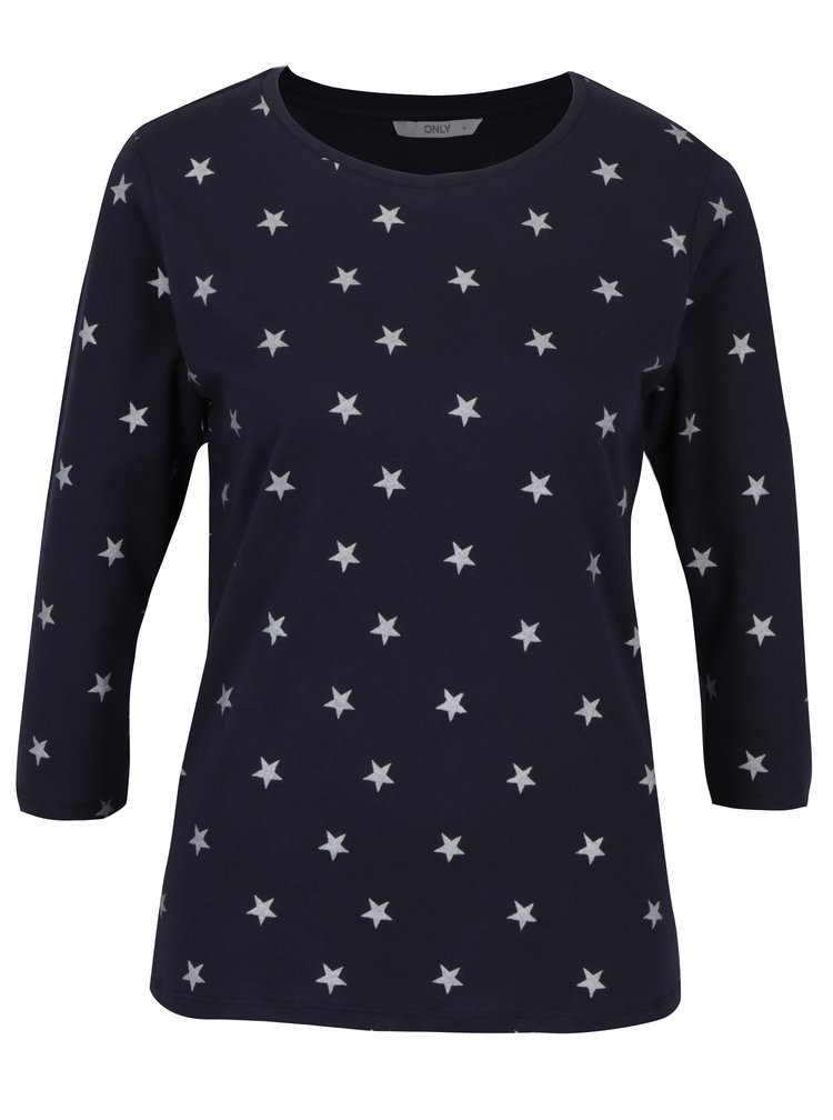Tmavě modré tričko s potiskem hvězd ONLY Bone