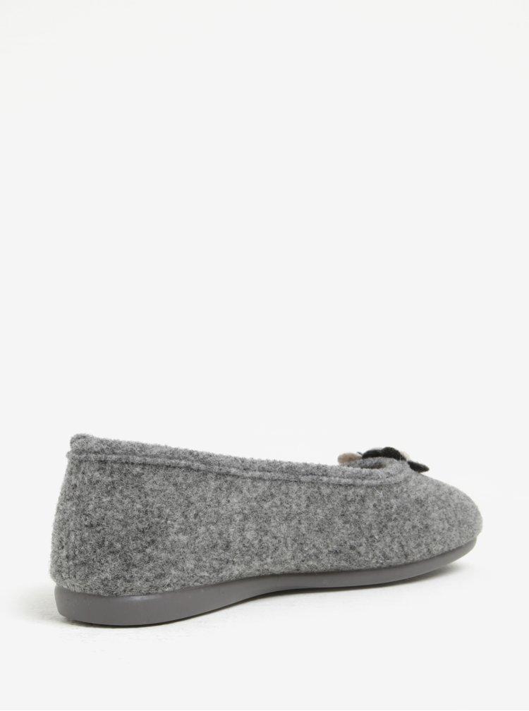 Šedé dámské papuče s aplikací OJJU