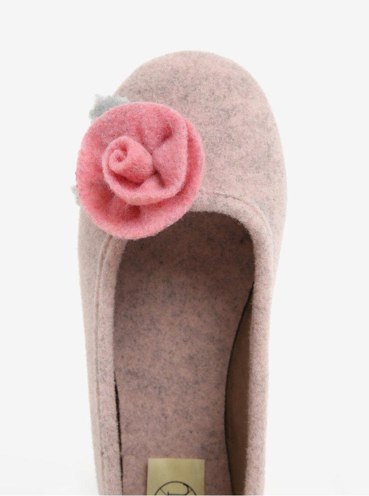 Papuci de casa roz cu aplicatie florala pentru femei - OJJU