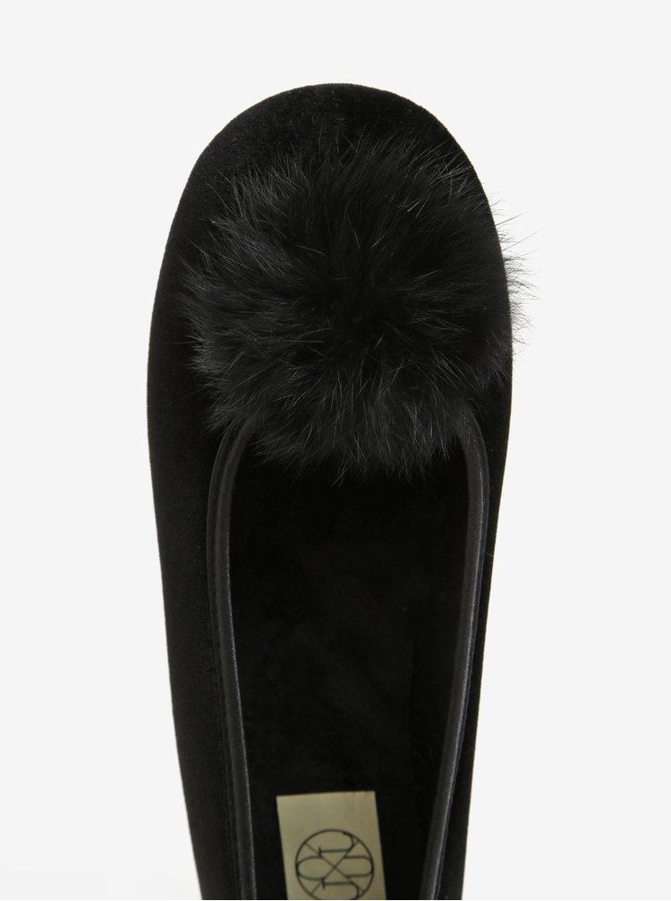 Černé dámské papuče s bambulí OJJU