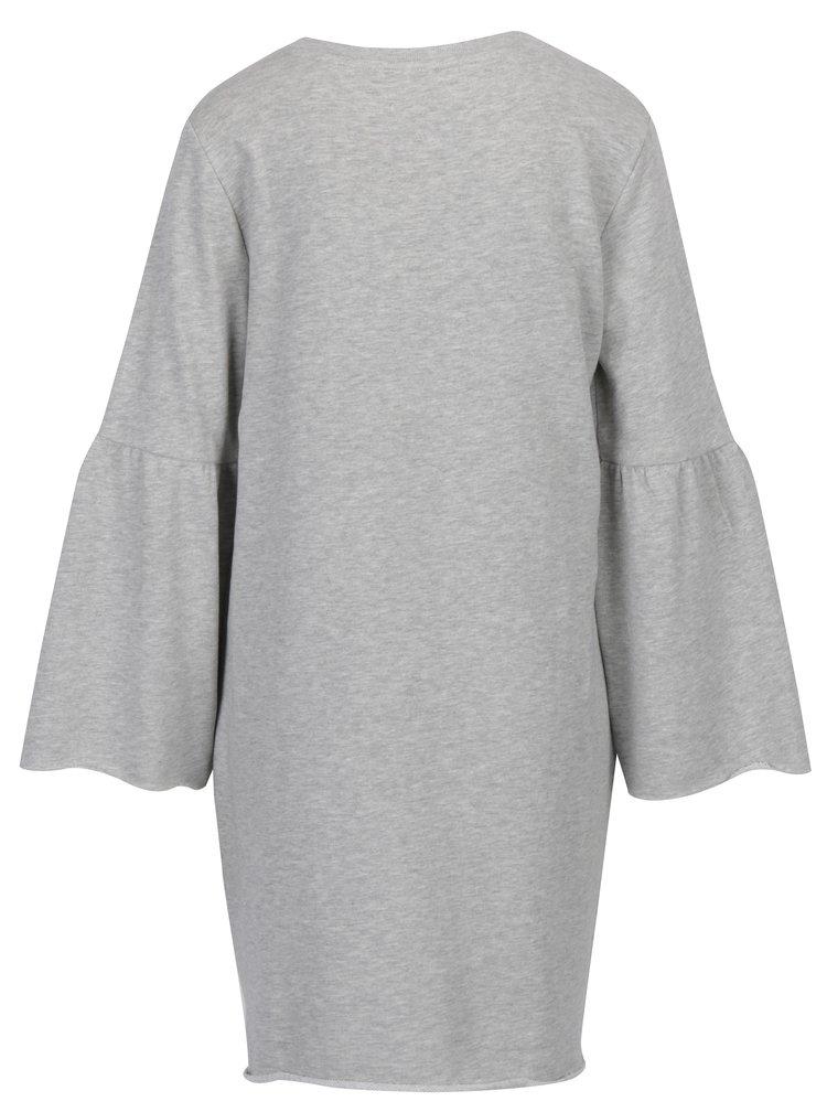 Světle šedé mikinové žíhané šaty Jacqueline de Yong Provel