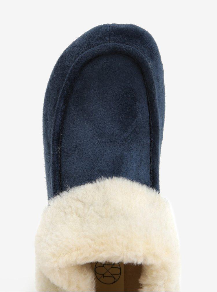 Tmavě modré dámské papuče s umělou kožešinou OJJU