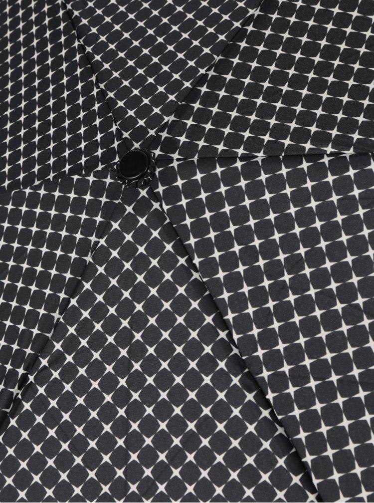 Černý vzorovaný dámský skládací deštník Doppler