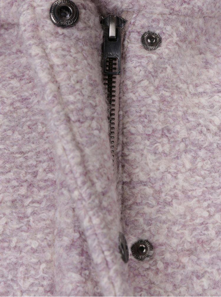 Palton roz prafuit din amestec de lana cu gluga - ONLY Indie