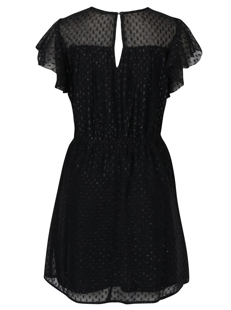 Černé vzorované šaty s průsvitným sedlem ONLY Lieke