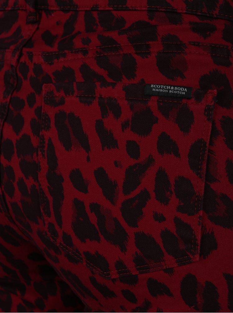Blugi skinny rosii cu print leopard si talie medie - Scotch & Soda