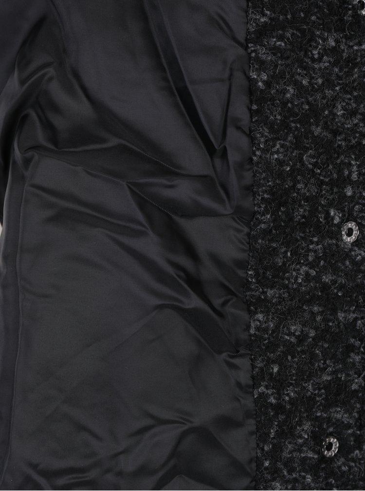 Černý žíhaný kabát s příměsí vlny ONLY Indie