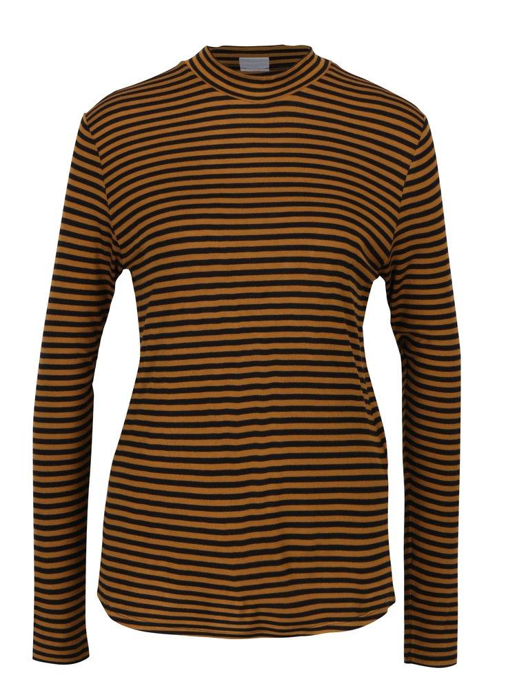 Hnědé pruhované tričko Jacqueline de Yong Spirit
