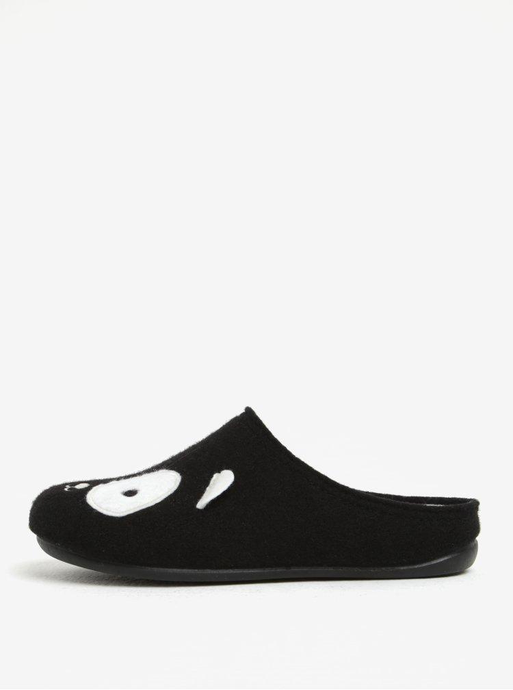 Černé dámské nazouvací papuče s motivem pandy OJJU