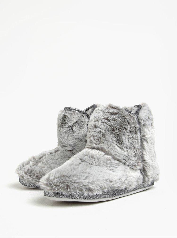 Šedé papuče s umělou kožešinou Dorothy Perkins