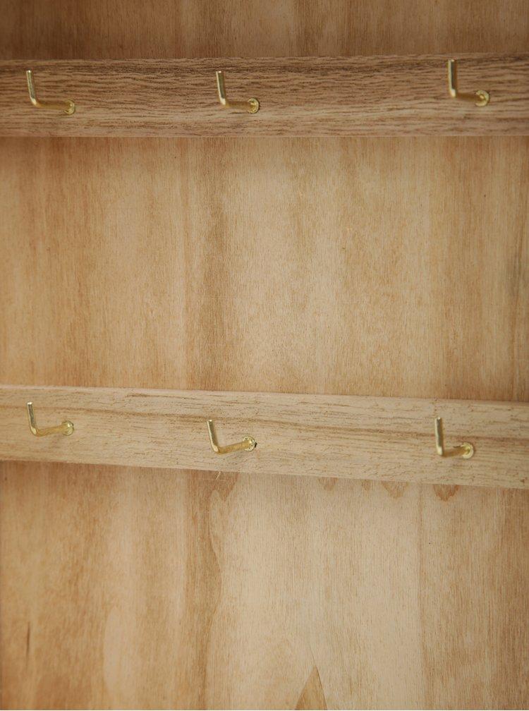 Hnědá dřevěná skříňka na klíče SIFCON