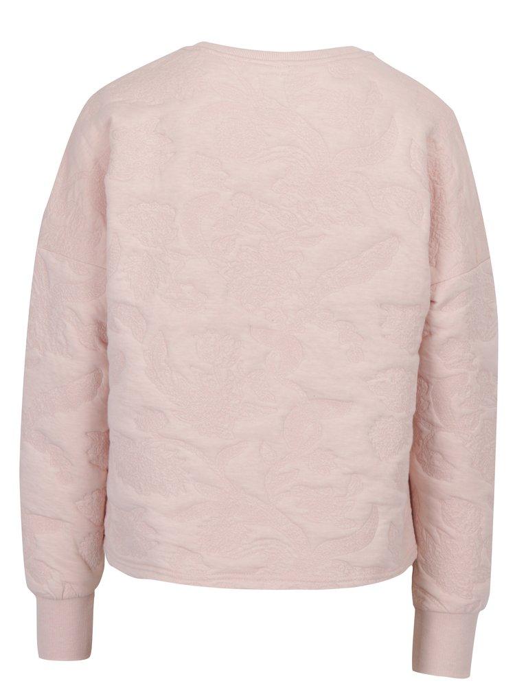Růžová mikina s jemným plastickým vzorem ONLY Enna