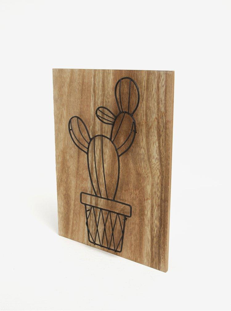 Drevený obraz s motívom kaktusu SIFCON