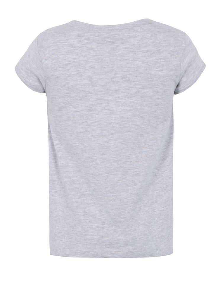 Šedé holčičí třpytivé tričko s potiskem 5.10.15.