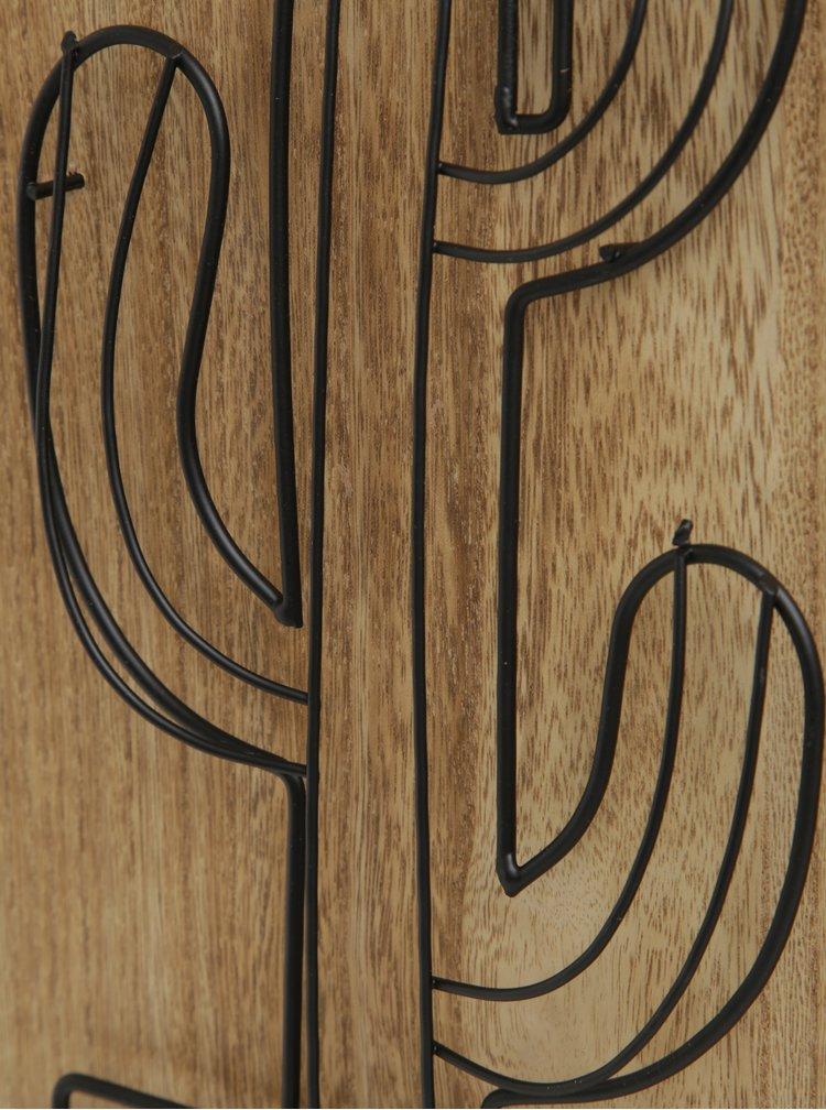Decoratiune din lemn si metal - cactus in ghiveci - SIFCON
