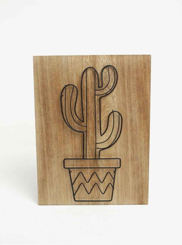 Dřevěný obraz s motivem kaktusu v květináči SIFCON