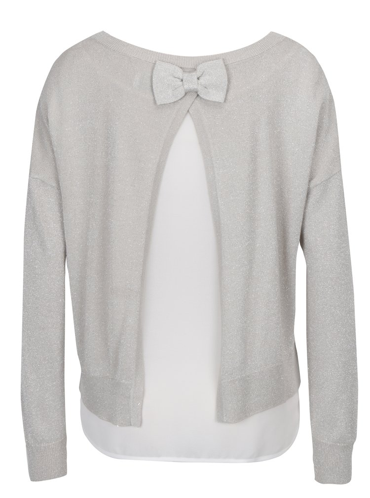 Béžový třpytivý svetr s průsvitným detailem na zádech ONLY Shen