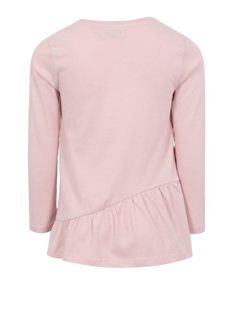 Růžové holčičí tričko s dlouhým rukávem a volánem 5.10.15.