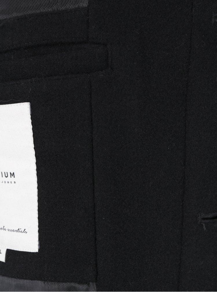 Pardesiu negru din amestec de lana Jack & Jones Gotham
