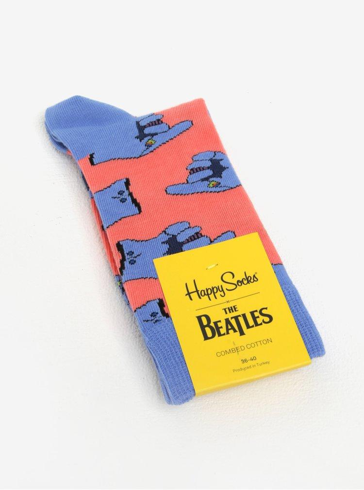 Růžovo-modré unisex vzorované ponožky Happy Socks Glove