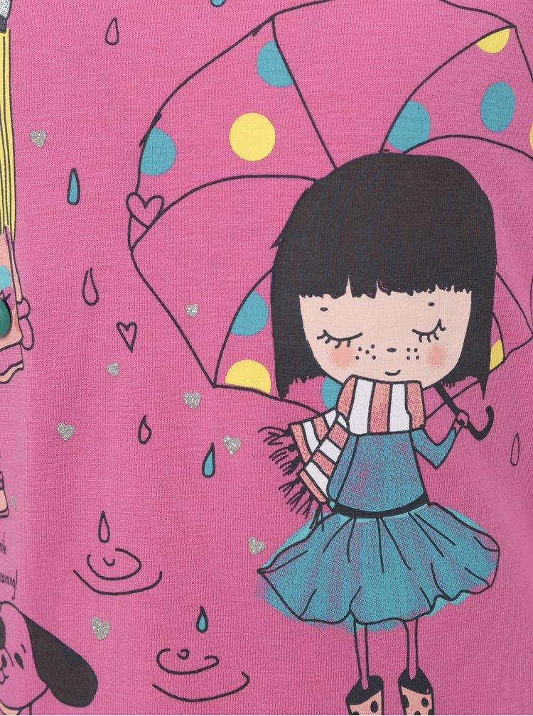 Ružové dievčenské tričko s dlhým rukávom a potlačou 5.10.15.