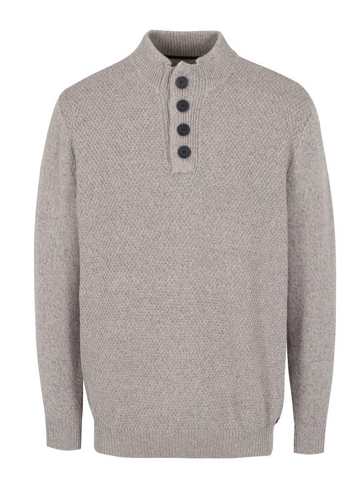 Pulover tricotat bej cu maneci lungi si nasturi - JP 1880