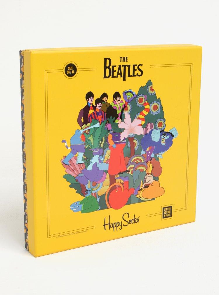 Sada šesti párů vzorovaných unisex ponožek Happy Socks The Beatles