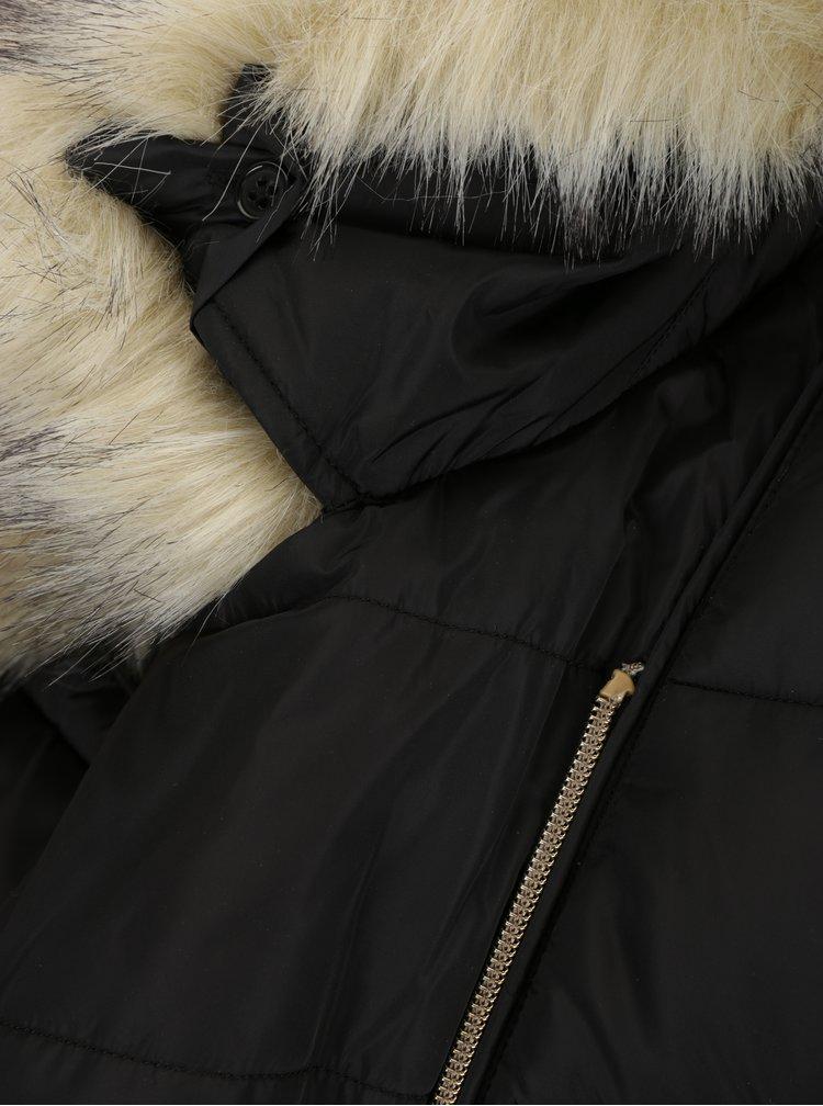 Geaca neagra matlasata asimetrica cu gluga si blana artificiala - Geox